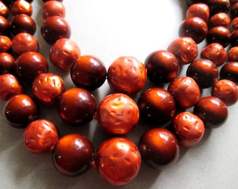 Mid Century Lucite Moonglow Necklace Moon Glow orange Triple Strand Beads Mad Men vintage costume jewelry MoonlightMartini