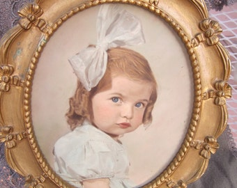 SALE Syroco Frame with Tinted Portrait Little Girl with Bow vintage Photo Portrait Vintage Frame