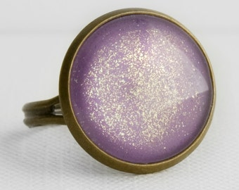 Amethyst Shimmer Ring in Antique Bronze - Lavender Purple Cocktail Ring with Gold Shimmery Sparkles