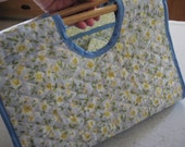 Casserole Carrier Rectangle Quilted Double Sided Floral Print on Soft Blue and Yellow Kitchen Accessories