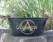 Personalized Oval Metal Tub/Ice Bucket - Party Beverage Tub - Assorted Colors Available
