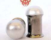 0g White Pearl Dome Ear Plugs, Single Flare, Double Flare, Wedding Plugs, Pearl Gauges, Pearl finish Plugs, Plugs Gauges, Pierced Eye Design