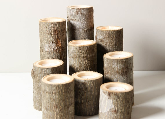 ... of 9- Rustic Wood Candle Holders, Tree Slice, Wooden Candle Holders