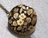 Floral Locket, Brass Black Flower Art Locket Necklace, Bridesmaid Jewelry, Floral Jewelry, Handmade Locket, Wedding Locket