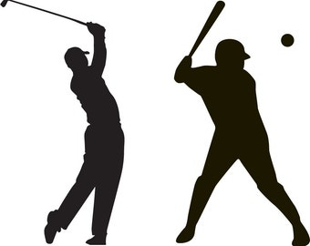 vinyl wall deca -- wall decals - sport decals - golf player decal - and baseball player - we can do any color any size