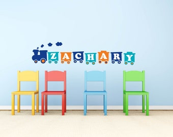 wall decals- Kids wall decals- Train decal-  childs name decal-   vinyl wall decal--  cute for any nursery