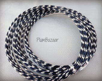 Aluminum wire for jewelry and crafts, 2mm round diamond cut black and silver color