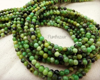 Round stone spacer beads, 4mm round, multi color shades of green