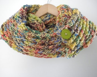 Crochet Scarf Multi Color Crayola Gold  Versatile Scarf Infinity Crochet Chunky Thick Neckwarmer with Buttons