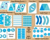 1st birthday party package Boy 1st birthday boy birthday party Sweet Cupcake Blue Green boy birthday invitation printable WORD PDF File DIY