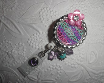 Beautiful Multi Colored Animal Print - Professional Retractable ID Badge Reel With Multi Colored Animal Print on a Bottle Cap With Beads