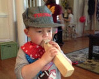 PERSONALIZED 3 Piece Train Set (Hat, Bandanna, Whistle); Thomas Train, Train Costume, Toddler Train Hat, Train Birthday, Train Engineer