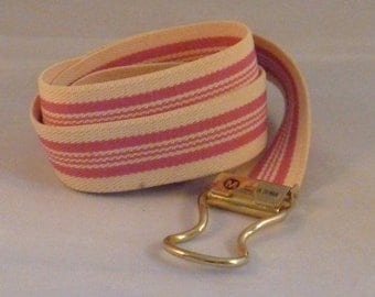 Pink Striped Cream Belt Ladies Womens Skinny Stretch