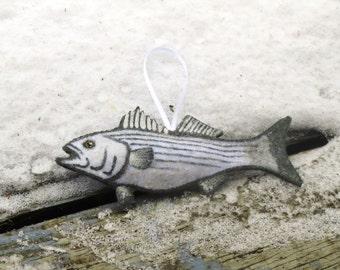 Rustic Fish Striped Bass Ornament