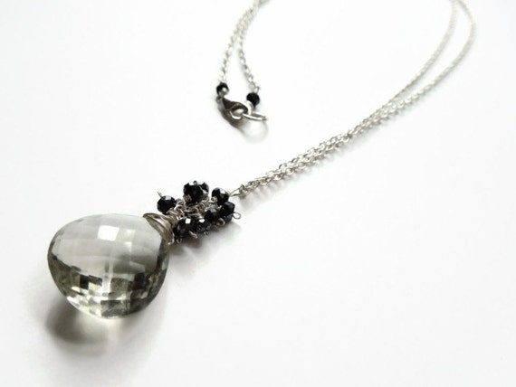 Green Amethyst Necklace with Mystic Black Spinel, Long