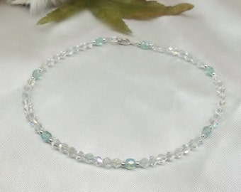 Something Blue Anklet Bridal Jewelry Clear AB Crystal Anklet 100% 925 Sterling Silver Anklet With Swarovski Elements BuyAny3+Get1 Free