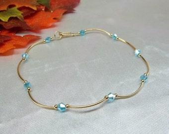 Light Blue Anklet Aquamarine Anklet Gold Anklet Crystal Ankle Bracelet Crystal Anklet 14k Gold Filled Anklet GF 1/20 Buy3+Get1 Free
