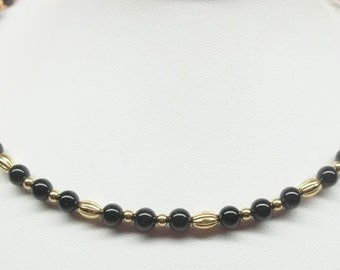 Black Onyx Necklace Gold Bead Necklace Adjustable Necklace Black and Gold Necklace 14k Gold Necklace Gold Plate BuyAny3+Get1Free