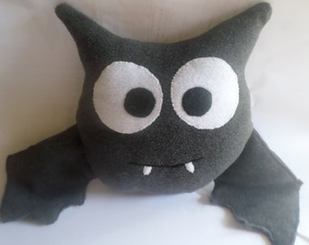 Bat Stuffed Animal, children's stuffed bat, made to order bat, plush fabric bat, soft bat, bat toy, bat pillow, bat decor, gray