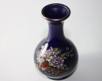 Kutani Vase, Made In Japan, Ceramic, Flower Cart, Vintage Vase, Cobalt Blue