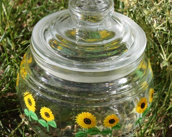 Glass Jar and Lid ,Sunflowers Surround the Container from the 1980's