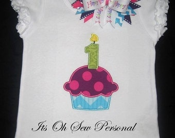 Cupcake w/ number shirt with bow