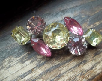 Vintage Brooch with Large Colorful Rhinstone Stones