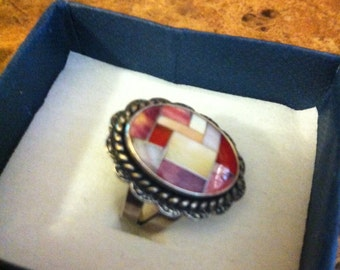 Vintage Zuni Mosaic Southwestern Sterling Silver Ring