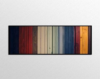 Gradient II -  Reclaimed Wood Art in Reds, Black, Yellow, Creams, Blues - Modern Wood Wall Art