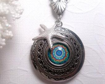 Silver Starfish Kaleidoscope Locket - Turquoise - Pattern Image Necklace - Beach - Photo