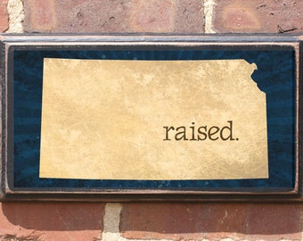 Kansas KS RAISED Wall Art Sign Plaque Gift Present Personalized Color Custom Wichita Topeka Overland Park Olathe Kansas City Antiqued