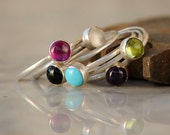Handmade Stackable Ring Set - Sterling Silver Stack Rings - Stackable Birthstone Rings - Gemstone Stackable Rings
