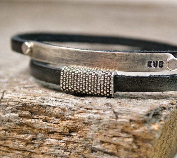 Wrap Bracelet - Personalized Leather and Sterling Silver ID Bracelet