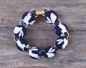 Dark Blue Bunny Button Bracelet