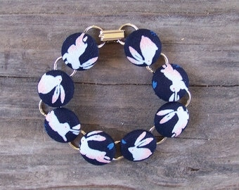 Dark Blue Bunny Button Bracelet