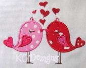 Valentine Love Birds With Hearts Machine Applique Embroidery Design - 4x4, 5x7 & 6x8