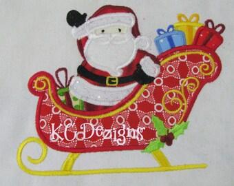 Santa Sleigh Machine Applique Embroidery Design - 5x7 & 6x8