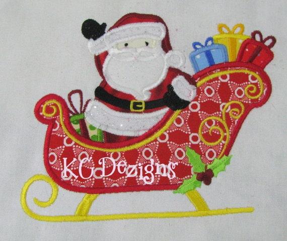 Santa sleigh machine applique embroidery design