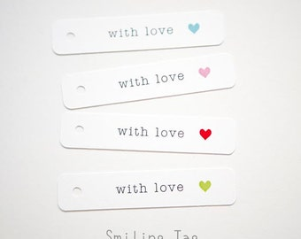 With Love Personalized Wedding Favor Tags - Party Gift Tags - Thank you tag - Bridal Shower - Favor Bag Tag - Set of 40 (Item code: J413)