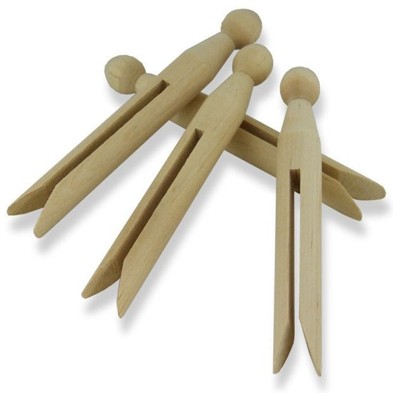Plain Wooden Dolly Pegs - Doll Peg Set of 12 - Craft Decorate Toy ...