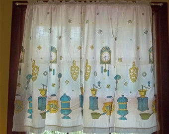 3 Piece Set , Mid Century Vintage Curtains, Aqua, Gold, and Green Kitchen Items, One Valance and 2 Panels