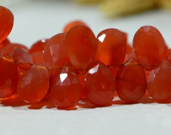 Carnelian  Faceted Teardrop Beads Natural Gemstone Beads Jewelry Making Supplies