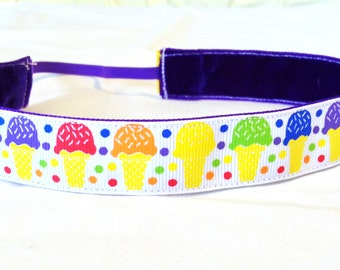 NOODLE HUGGER Non slip ribbon headband - ice cream cones - 7/8 inch (running, working out, everyday: women and girls)