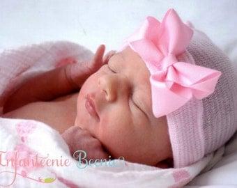 READY TO SHIP (Newborn hat, newborn hospital hat with bow, newborn girl hat,  hospital newborn hat, newborn hat, infant hat, baby bow)