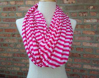 Pink and White Stripe Print Scarf, Infinity Scarf, Women's Scarves