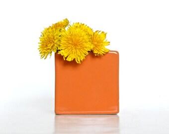 Modern Glossy Orange Ceramic Bud Vase - Orange Home Decor, Orange Pottery Vase, Orange Flower Vase, Orange Ceramic Vase (Without Flowers)