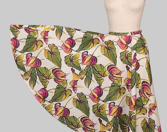 Vintage 1950s Circle Skirt / 50s Novelty Print Circle Skirt / 1950s Tropical Floral Print Skirt / Tiki Oasis
