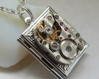 Steampunk book locket necklace with vintage watch  movement