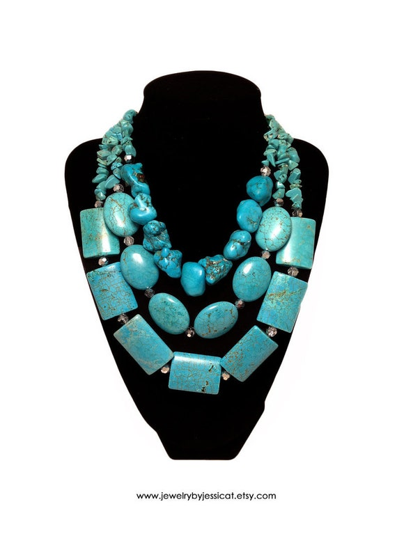 TURQUOISE GEMSTONE, Statement Necklace, Turquoise, Teal, Bold, Chunky, Genuine, Jewelry by Jessica Theresa