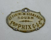 Shop Closing Sale - Vintage French Canine 'Dog' Award Plaque from Rouen, France